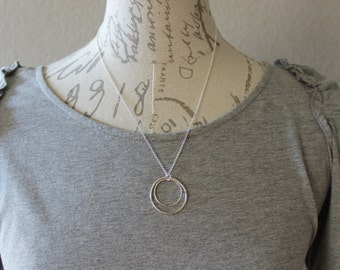 Sterling Silver Jewelry Sterling Silver Double Circle Necklace Petite Forged Silver Circle, Double Circle, Silver Circles Necklace