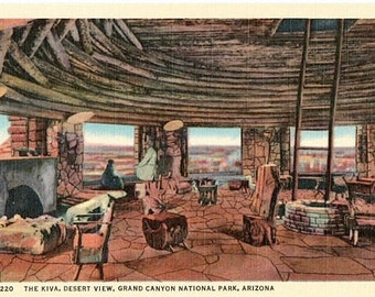 Vintage Arizona Postcard - The Kiva Room, Indian Watchtower at Desert View, Grand Canyon National Park (Unused)