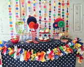 Rainbow Paper Garland Backdrop. Birthday Party Decorations or Photo Prop for Circus, Carnival parties. More Custom Colors TOO. Candy Buffet