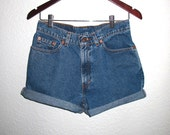 80s Vintage Levi's 581 High Waisted Stonewash Blue Denim Shorts Black TAB Gals size 9 Jr. .. Waist 29
