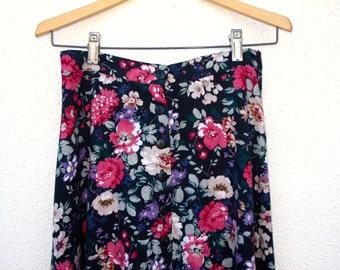80s Vintage Rayon Blend Midi Gathered Skirt Floral Print, St Marteen Below Knee Midi Length Skirt Multi Color S M inch Partial Elastic Waist