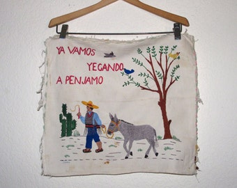 Vintage Embroidery Mexico Folk Art Decor Hand Stitched Donkey Cactus Traveler / Ya Vamos Penjamo