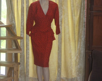 Vintage Red Rayon Jonathan Martin 80's Bold Peplum Dress M