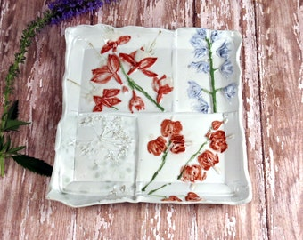 Pottery Serving Dish with Garden Flowers - White Serving Dish -White Decorative Plate - Handmade White Dish - 333