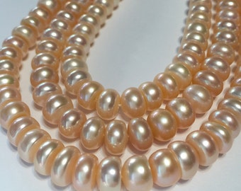 Peach BIG pink natural color rondelle corn pearls full 14inch strand