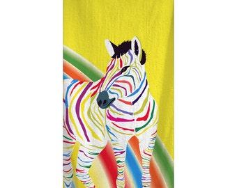 Custom Personalized Rainbow ZebraTowel -  Yellow with rainbow color zebra -Color and Personalization of your choice