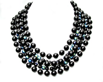 Pearl STATEMENT Necklace, Multi Strand, Swarovski Black Pearls, Iridescent Beads, Couture Fashion, Red Carpet by Mei Faith