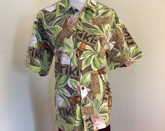 Vintage Hawaiian Print Shirt, Resortwear, Coverup