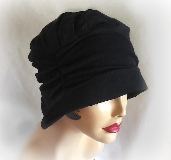 soft pretty chemo hat black jersey small brim