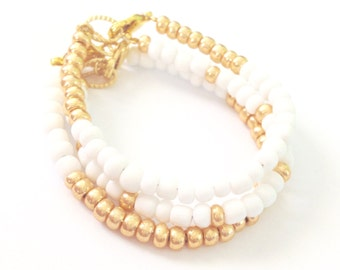 Color Block Bracelet SET White Gold- Czech Glass Baby, Toddler, Kids, Womens Dainty Bracelet - Preppy, Beach, Boho