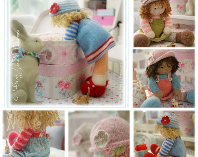 Doll Knitting Pattern Deal/ 4 TEAROOM Dolls and Hats/  Toy Knitting Patterns/  plus FREE 'Sewn Pinafore' Pattern/ INSTANT Download