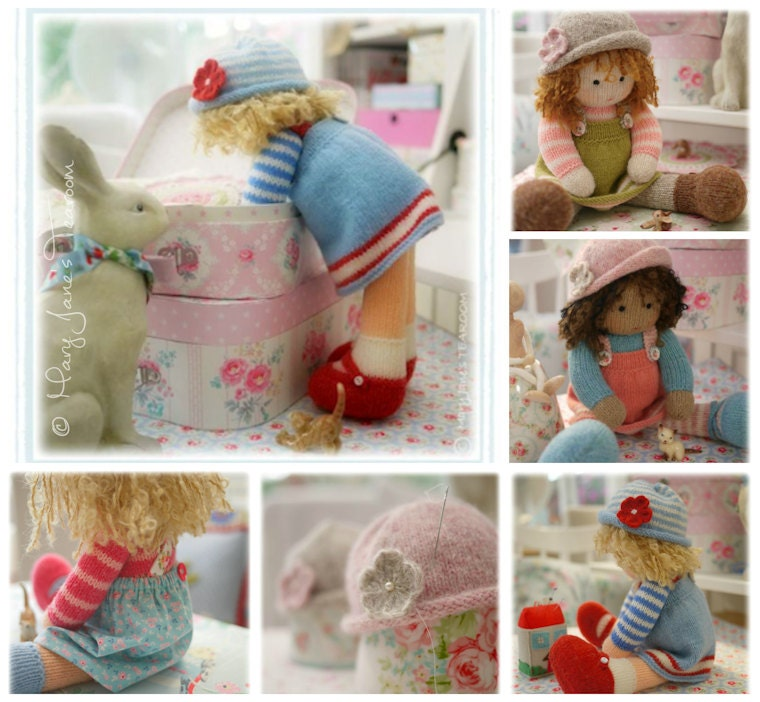 Knitting Patterns For Toy Hats : Doll Knitting Pattern Deal/ 4 TEAROOM Dolls and Hats Toy