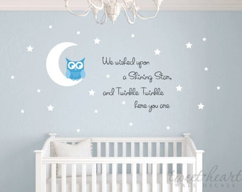 Owl & Moon Wall Decal Set, Twinkle twinkle Wall Decals, Vinyl Decals, Nursery Wall Decals, Childrens Decals