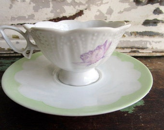 Vintage hand painted Bavaria Germany Teacup Saucer Butterfly handle flowers