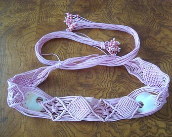 Vintage Pink Macrame with Mother of Pearl Shell & Beads Boho Hippy Belt