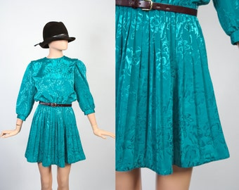Vintage Mini Secretary Dress / Teal Floral / Puff Sleeves / Pleated Skirt / Blouson Dress / Extra Small / Small