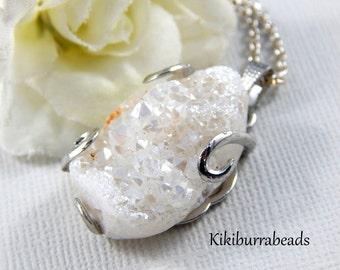 Druzy Agate Necklace White Druzy Agate Silver Pendant Necklace