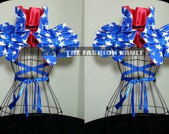 4th of July Wonder Woman Cosplay Manga Ringmaster Burlesque Shoulder Collar Shrug Wrap dance costume wear