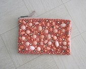 Vintage 1960s Beaded Bag - Gorgeous Coral Beaded Clutch - 60s Beaded Evening Bag