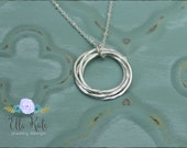 Four linked circle necklace, Sterling silver eternity necklace, Sisters mothers friends gift