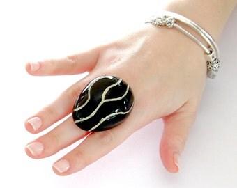 Ceramic Statement Ring - geometric ring, big ring, black ring, statement jewelry, handmade cocktail ring - Studioleanne