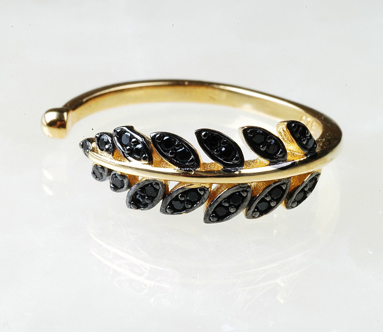leaf silver ring sterling silver black cz ring gold leaf
