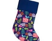 Stocking for Charlotte | Large Christmas Stocking | Navy Blue Stocking | Evergreen Birds | Navy Cuff