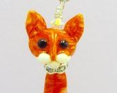 Orange Tabby Cat - Handmade Lampwork Glass Bead SRA