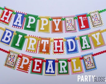 Polka Dot 1st Birthday Party Banner Decorations Fully Assembled | Primary Colors