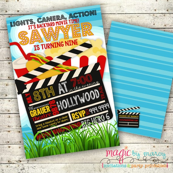 Digital Summer Backyard Movie night Party invitation by Magic By Marcy