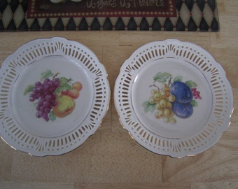 Bavarian Imperial Germany Decorative Lattice Fruit Plates