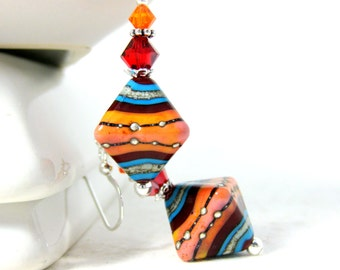 Southwestern Earrings, Lampwork Earrings, Red Orange Turquoise Earrings, Beadwork Earrings, Glass Earrings, Colorful Glass - Red Rock Canyon