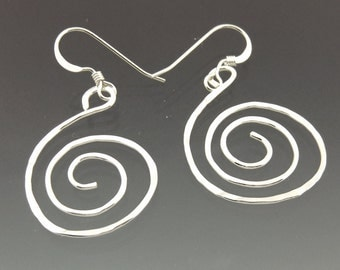 Wide Spiral Earrings in Sterling Silver