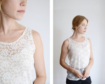 1980s Off White Lace Tank Top - S