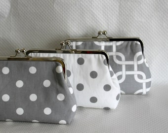Wedding Clutches - Bridesmaids Clutches - Wedding Gifts - Bridesmaid Gifts - Gray/White Wedding Clutches - Six Bridesmaid Clutches
