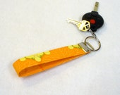 Wristlet Key Fob Amy Butler Fabric Keyring Keychain Nouveau Trees Tangerine Orange Yellow Fabric Handmade MTO