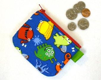 Boys Mini Coin Purse Zipper Change Purse Silly Monsters Colorful Fabric Wallet Handmade MTO
