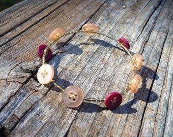 mauve and champagne vintage buttons bangle bracelet - 640