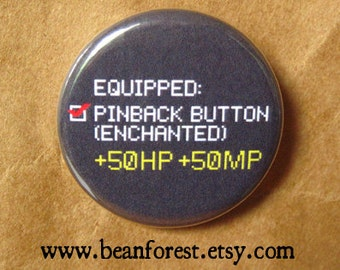 """equipped enchanted button video game pins gamer gifts 1.25"""" badge skyrim fallout 4 dota 2 rpg geekery jewelry minecraft xp jrpg persona pin"""