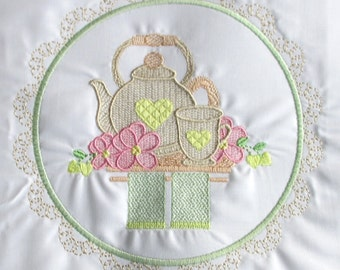 Machine Embroidery Design-Tea Time #02 with 3 sizes Included!