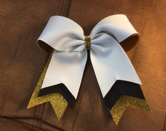 Trio Layer cheer bow - white - black - gold glitter - flat center