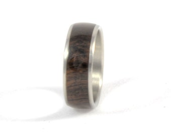 Wood Ring - African Blackwood Wood Ring with Stainless Steel Core, Wood Ring, Wedding Ring, Wedding Band,Engagement Ring