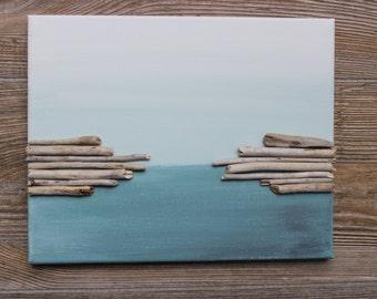 Driftwood Wall Art , Original Acrylic Painting for the Beach House & Coastal Spaces , Reclaimed Wood Decor