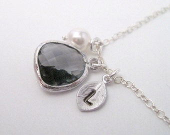 Bridal Jewelry Gray Glass Pendant and Stamped Initial Bridesmaid Necklace