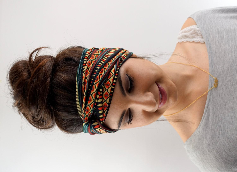 Yoga Twist Headband Turban Headband Tribal Headband Red Teal