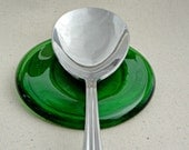 Melted Green Wine Bottle Base - Recycled Spoon Rest
