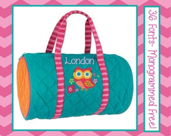 Personalized Girl's OWL Overnight Duffle Bag- Monogrammed FREE 36 Fonts