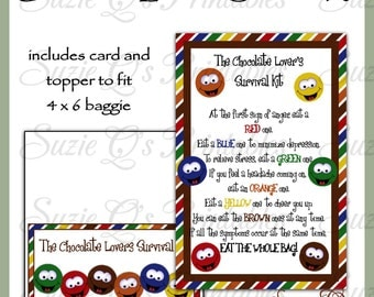 Chocolate Lover's Survival Kit includes Topper and Card - Digital Printable - Immediate Download