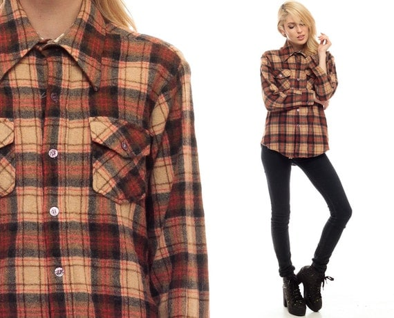 Wool flannel shirt brown tan plaid 70s grunge long sleeve for Brown and black plaid shirt