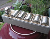Silver Salt and Pepper Shakers Set of Six with Box Vintage Dining Style